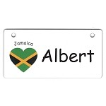 Jamaica Heart Flag Crate Tag Personalized With Your Dog's Name